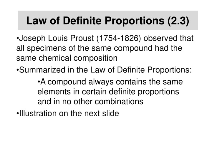 Law of Definite Proportions (2.3)
