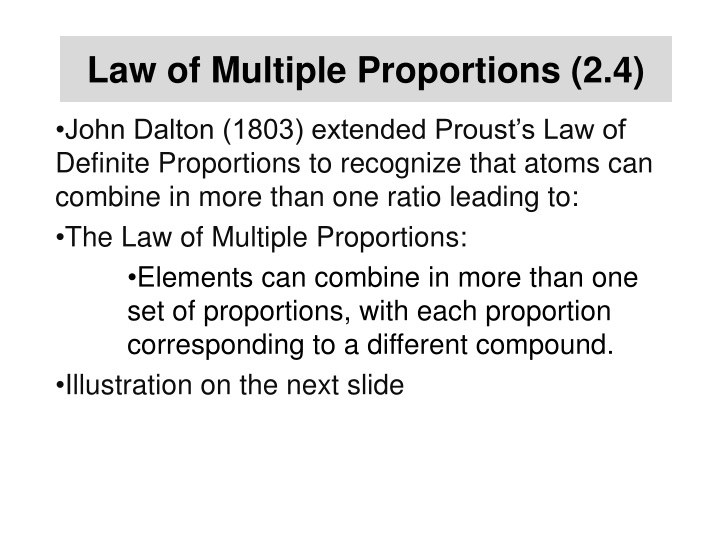 Law of Multiple Proportions (2.4)