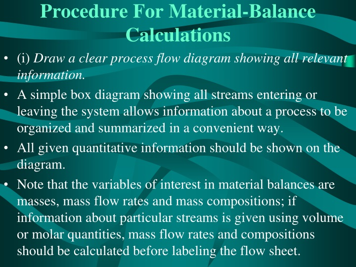 Procedure For Material-Balance