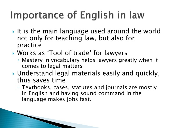 Importance of english in law