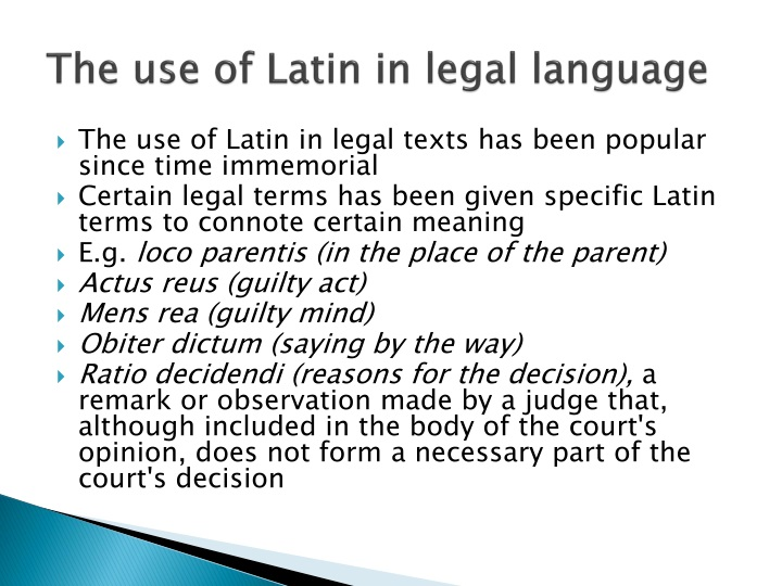 The use of latin in legal language