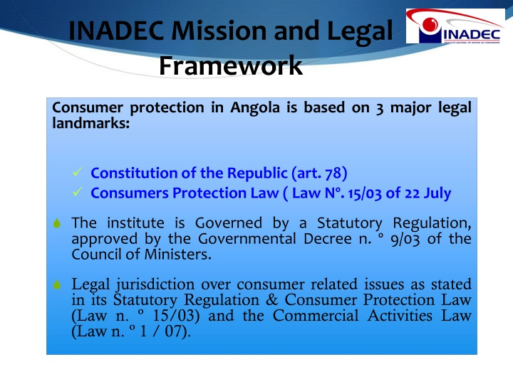 INADEC Mission and Legal Framework