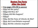 boston tea party after the quiz
