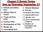 chapter 5 events terms due on thursday september 27
