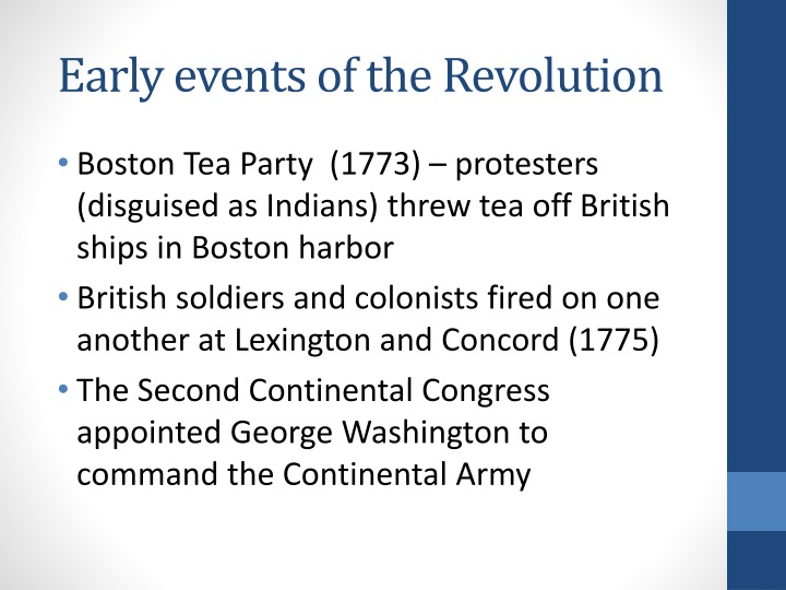 Early events of the Revolution