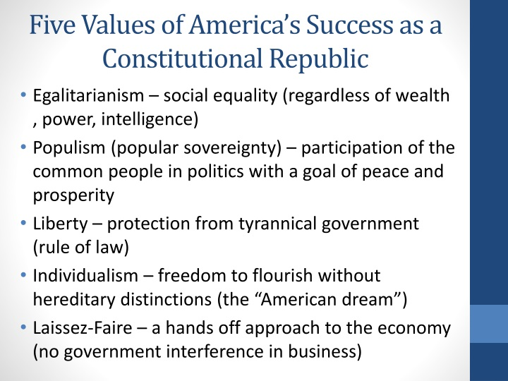 Five Values of America's Success as a Constitutional