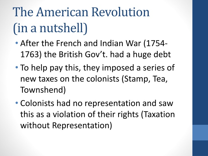 The american revolution in a nutshell