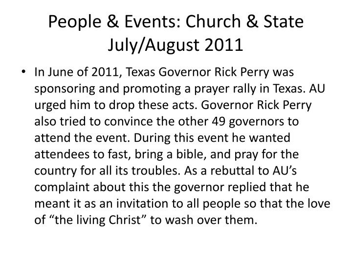 People & Events: Church & State July/August 2011