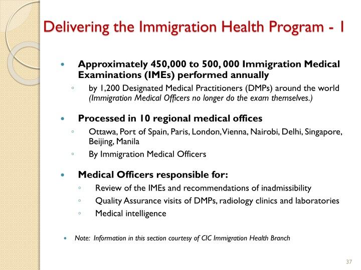 Delivering the Immigration Health Program - 1