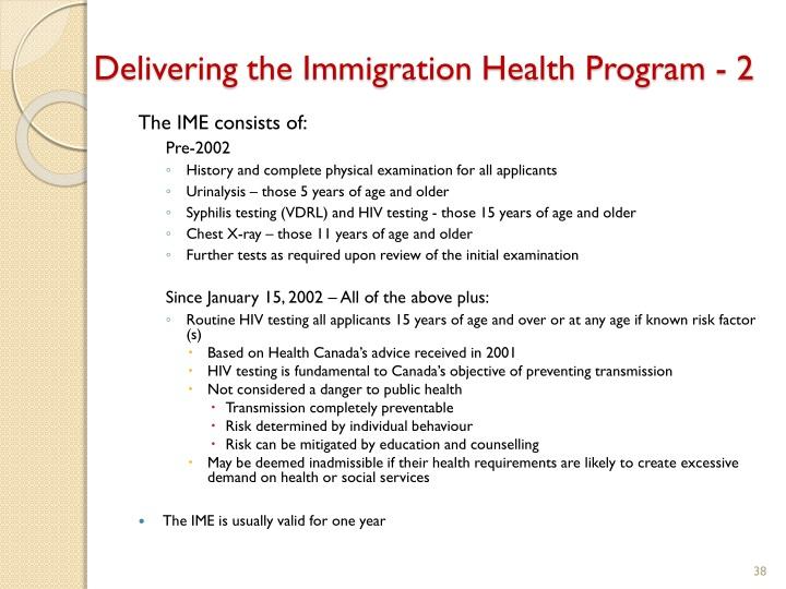 Delivering the Immigration Health Program - 2