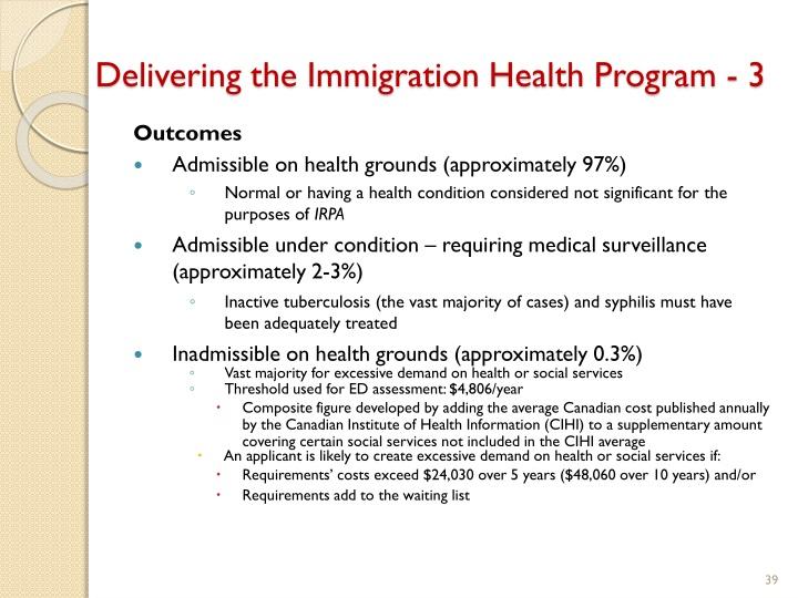 Delivering the Immigration Health Program - 3