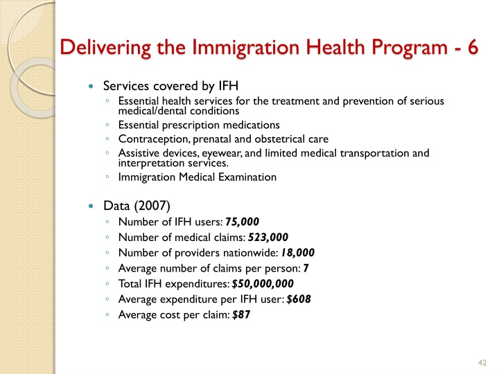 Delivering the Immigration Health Program - 6