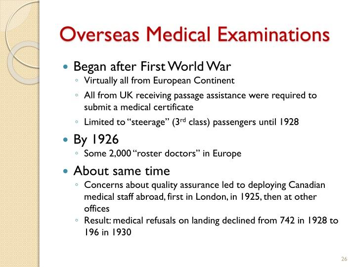 Overseas Medical Examinations