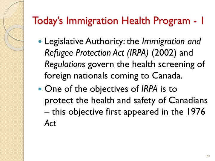 Today's Immigration Health Program - 1