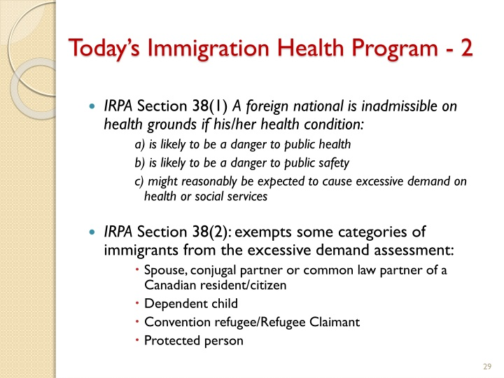 Today's Immigration Health Program - 2