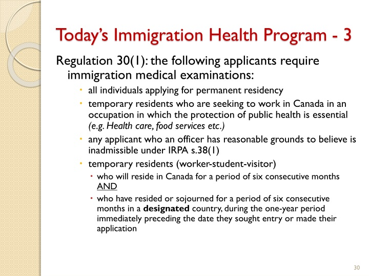 Today's Immigration Health Program - 3