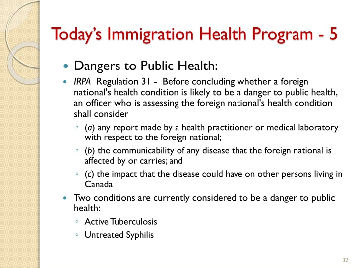 Today's Immigration Health Program - 5