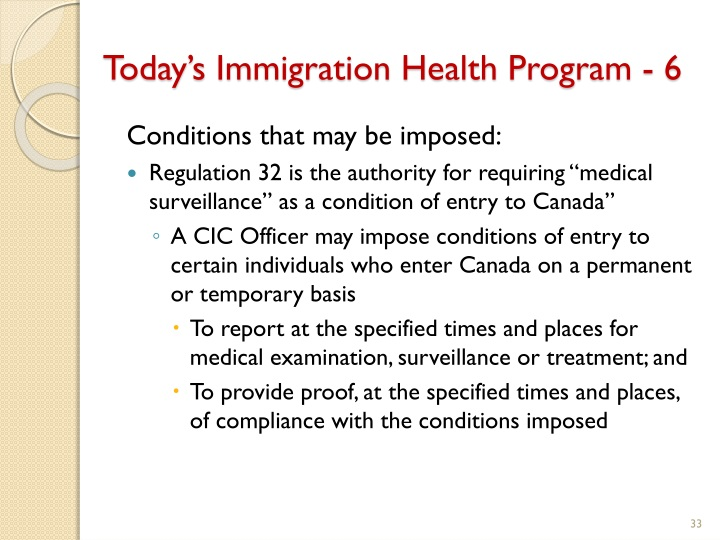 Today's Immigration Health Program - 6