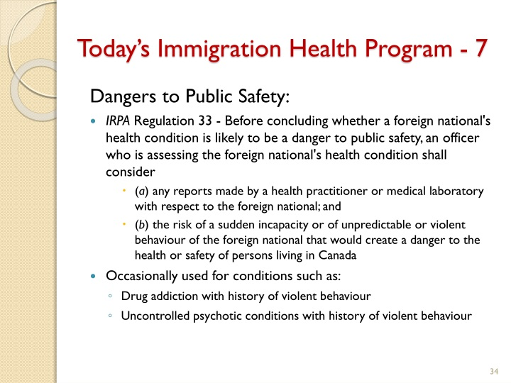 Today's Immigration Health Program - 7