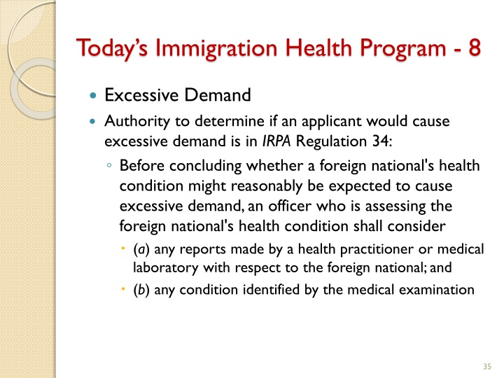 Today's Immigration Health Program - 8