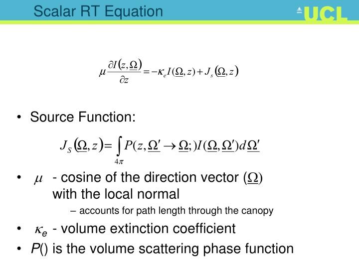 Scalar RT Equation