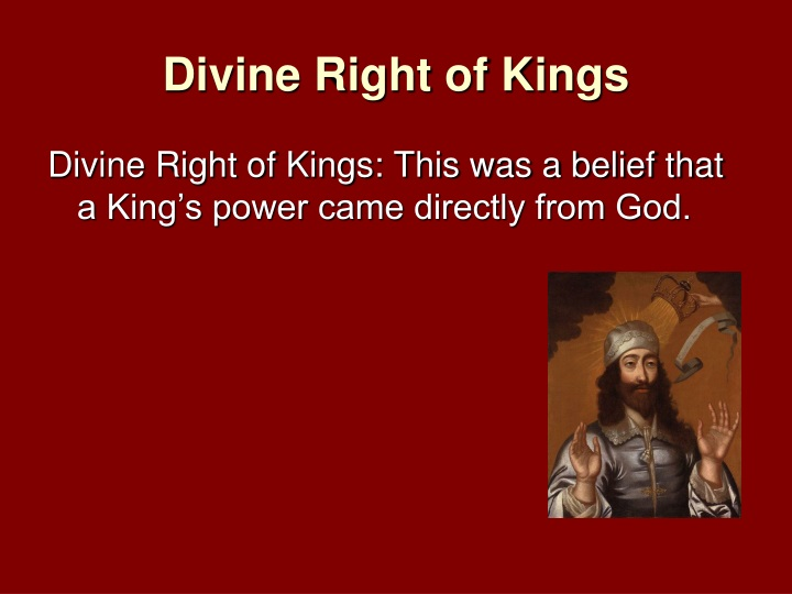 divine rights of kings Definition of divine right of kings - the doctrine that kings derive their authority from god not their subjects, from which it follows that rebellion is the worst of p.
