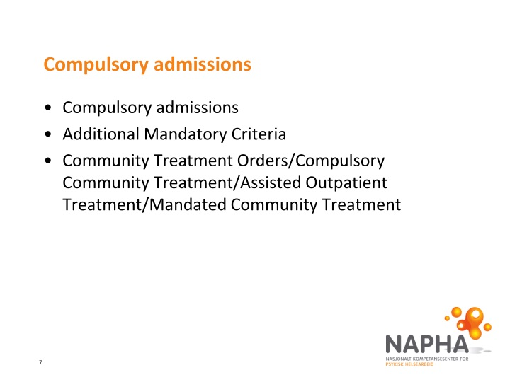 Compulsory admissions