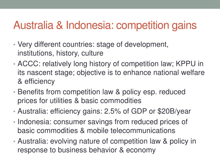 Australia & Indonesia: competition gains