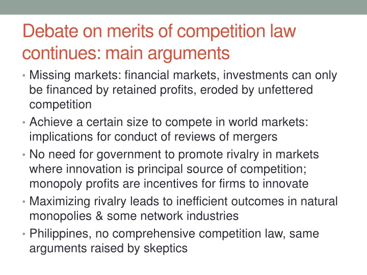 Debate on merits of competition law continues main arguments