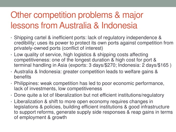 Other competition problems & major lessons from Australia & Indonesia
