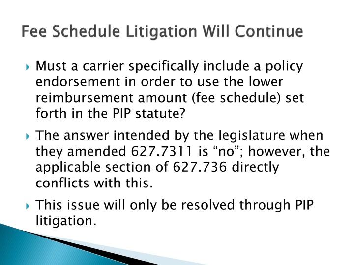 Fee Schedule Litigation Will