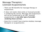 massage therapists licensed acupuncturists