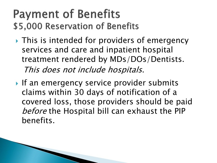 Payment of Benefits