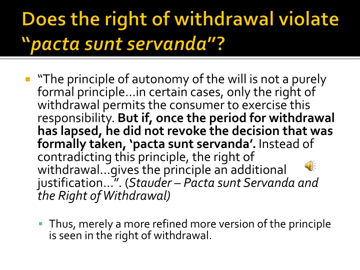 Does the right of withdrawal violate ""