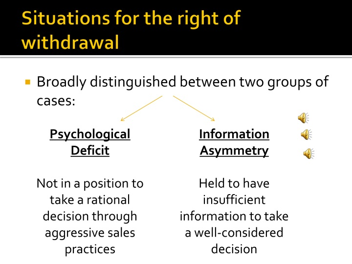 Situations for the right of withdrawal
