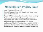 noise barrier priority issue