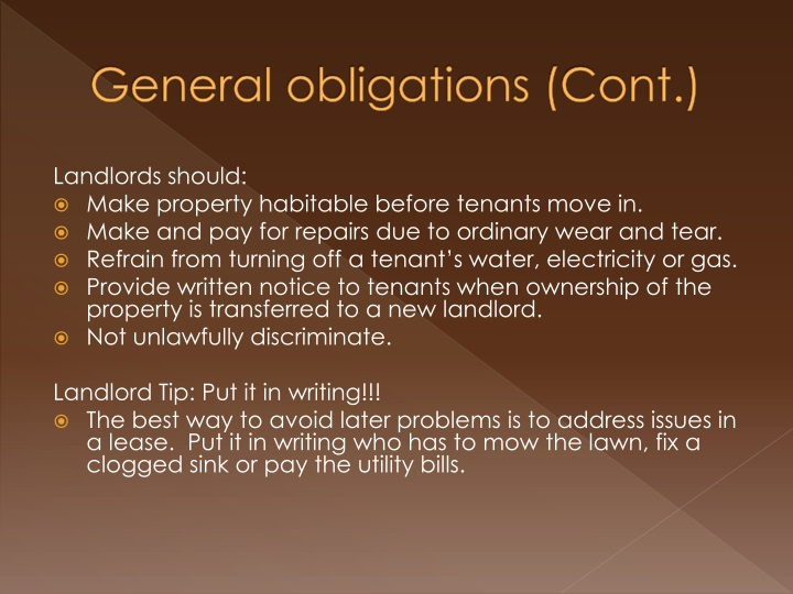 General obligations cont