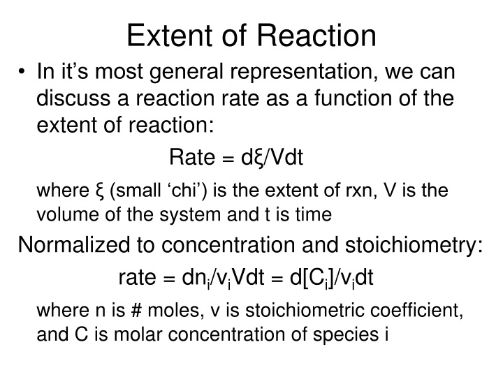 Extent of Reaction