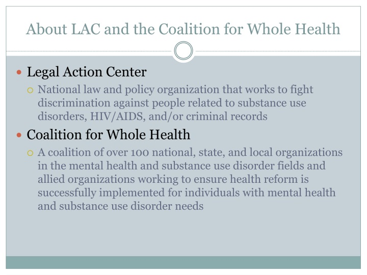 About lac and the coalition for whole health