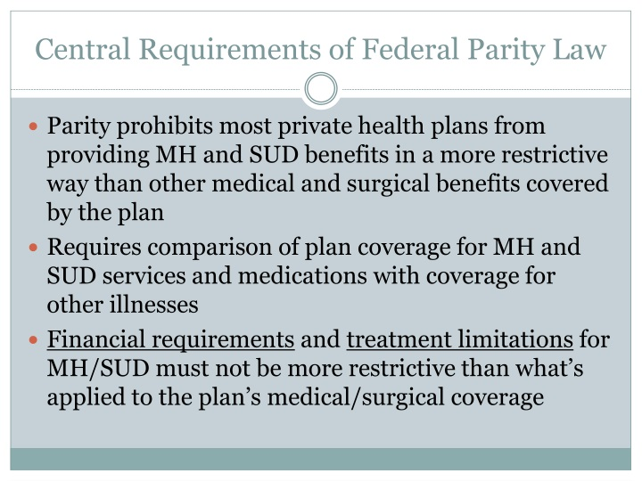 Central Requirements of Federal Parity Law