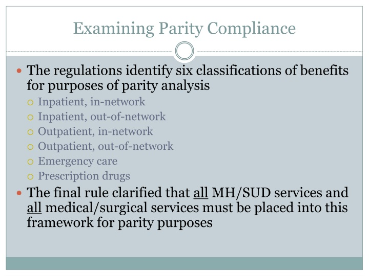 Examining Parity Compliance