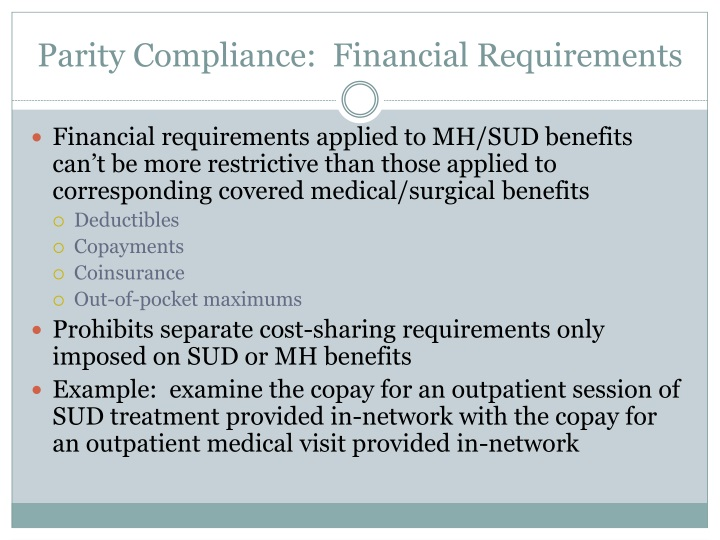 Parity Compliance:  Financial Requirements
