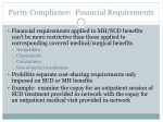 parity compliance financial requirements