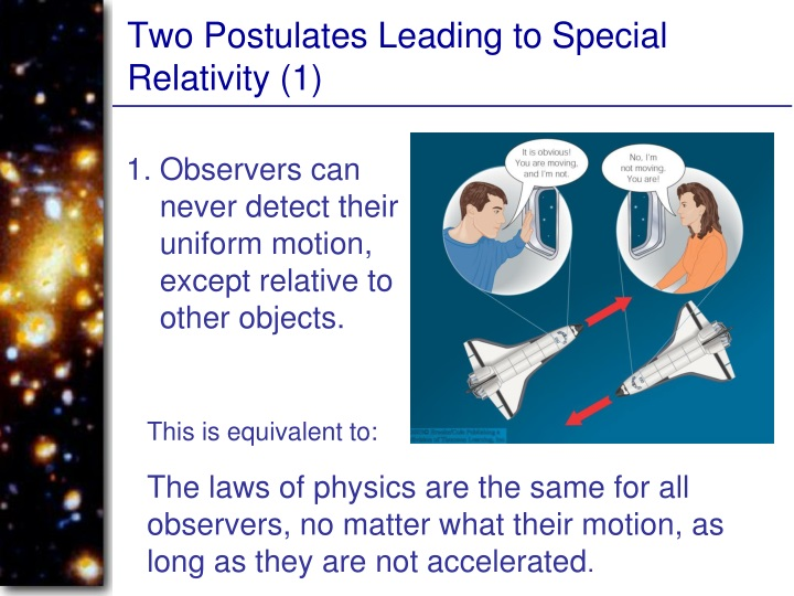 Two Postulates Leading to Special Relativity (1)