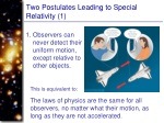 two postulates leading to special relativity 1