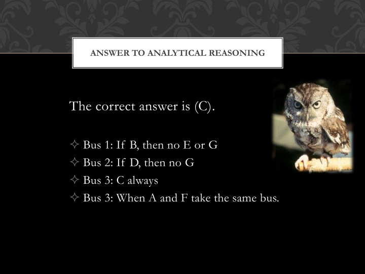 Answer to Analytical Reasoning
