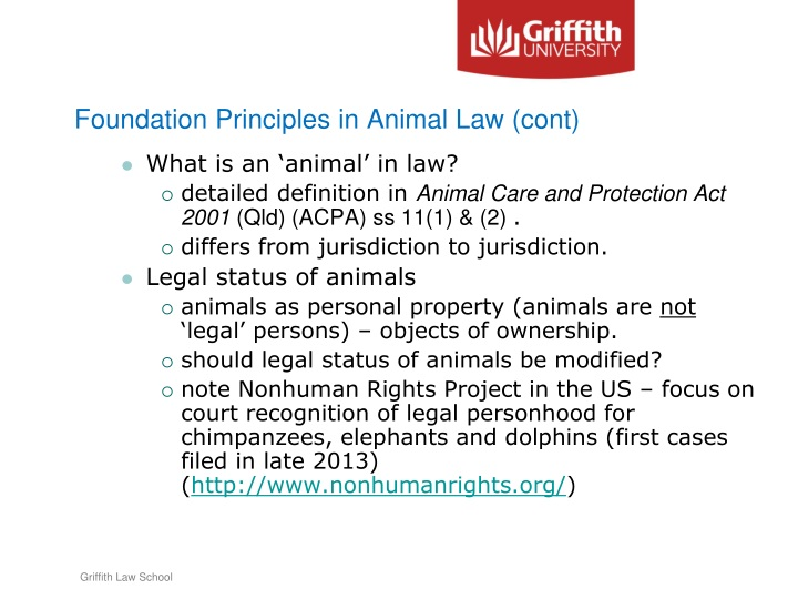 Foundation Principles in Animal Law (cont)