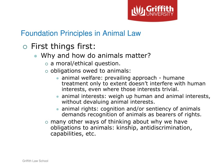 Foundation Principles in Animal Law