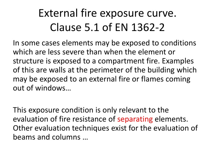 External fire exposure curve.