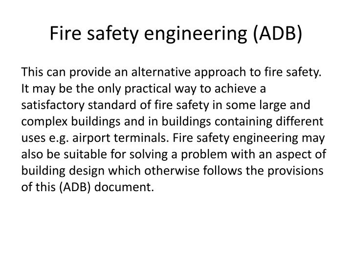 Fire safety engineering (ADB)